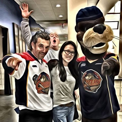 #erieotters we are officially otters fans got a picture with Shooter!! The famous otter dog!